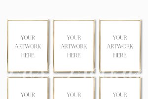 Set Of 6 Gold Frames Mockup