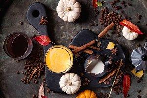 Ingredients for pumpkin latte