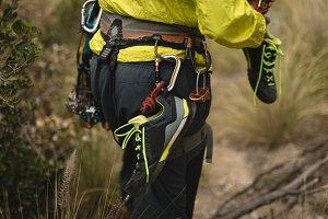 Man preparing for rock climbing