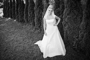 Deluxe bride holds her hand