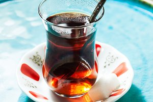 Travel concept: tea in traditional Turkish cups