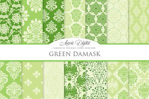 28 Green Damask Digital Papers
