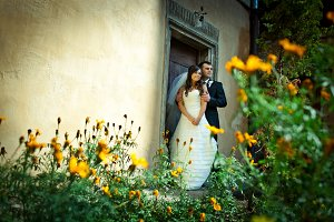 Look over yellow flowers at couple