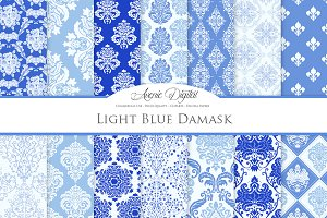 28 Blue Damask Digital Papers