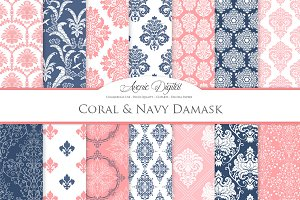 28 Coral & Navy Damask Digital Paper