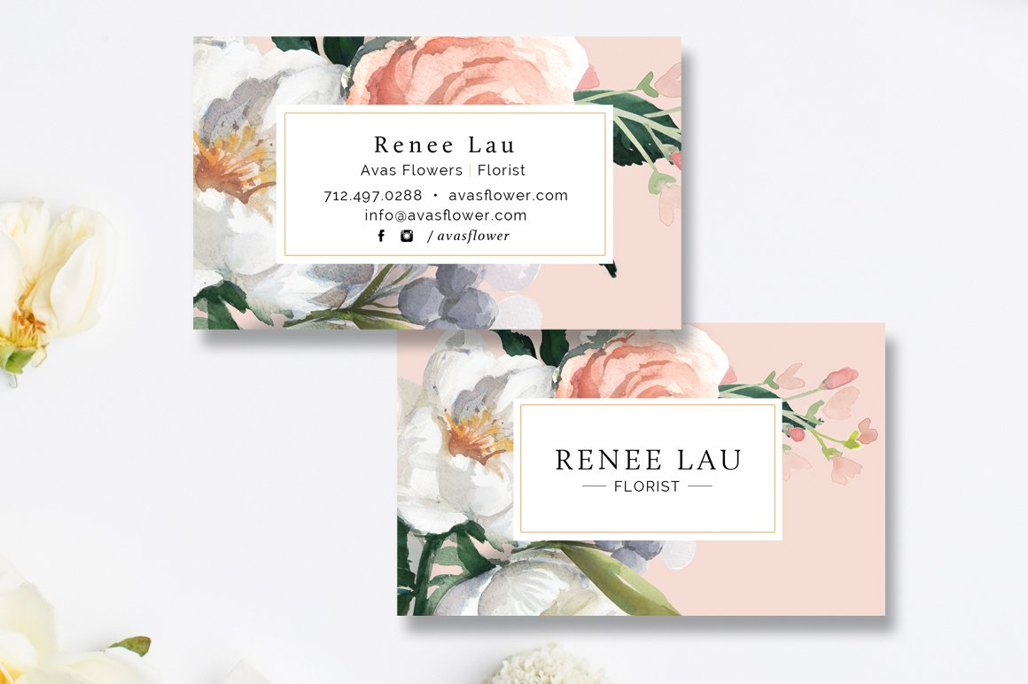 Floral Business Card Template ~ Business Card Templates ~ Creative ...