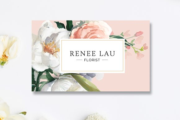 floral business card template business card templates creative market