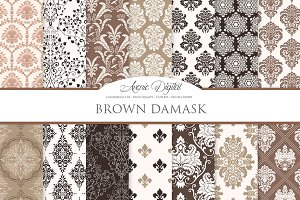 28 Brown Damask Digital Papers