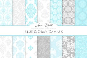 28 Blue & Gray Damask Digital Paper