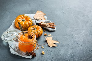 Fall autumn pumpkin jam confiture with spices