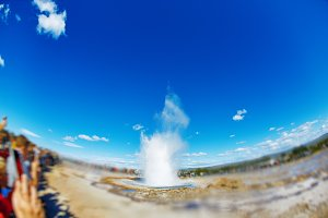 Eruption of Strokkur Geyser in Iceland