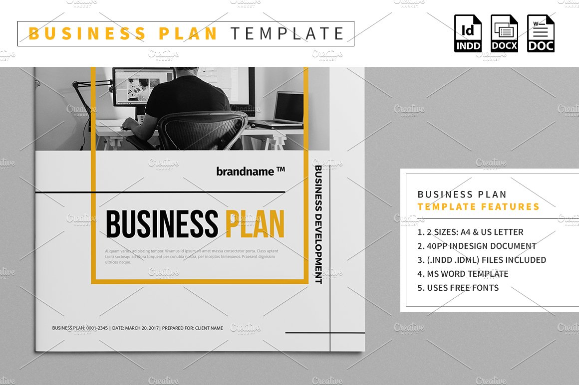 Business plan template stationery templates creative market flashek Images