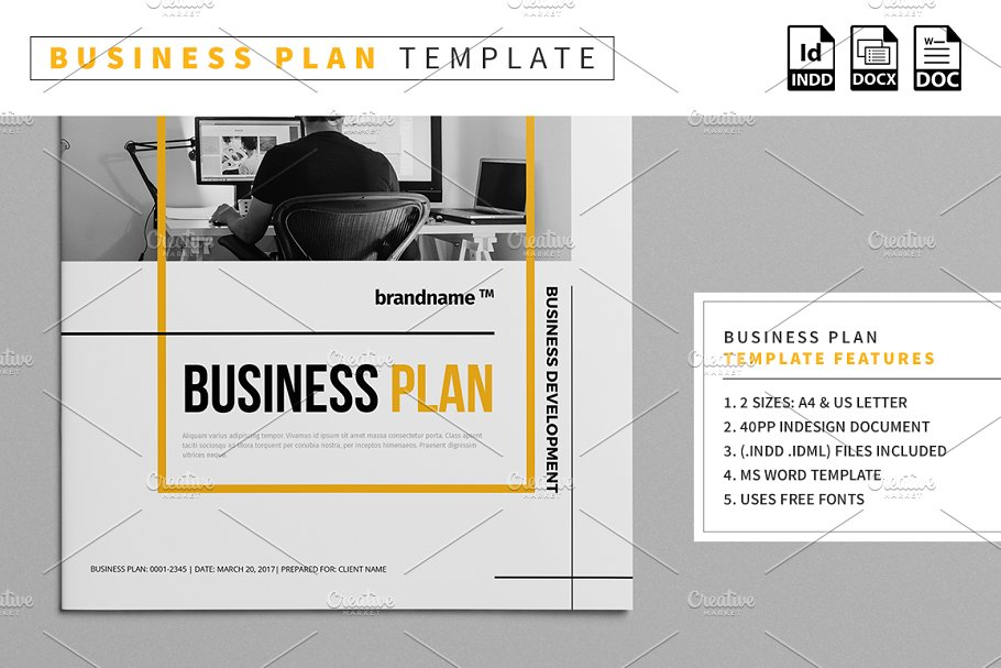 Business Plan Template Stationery Templates Creative Market
