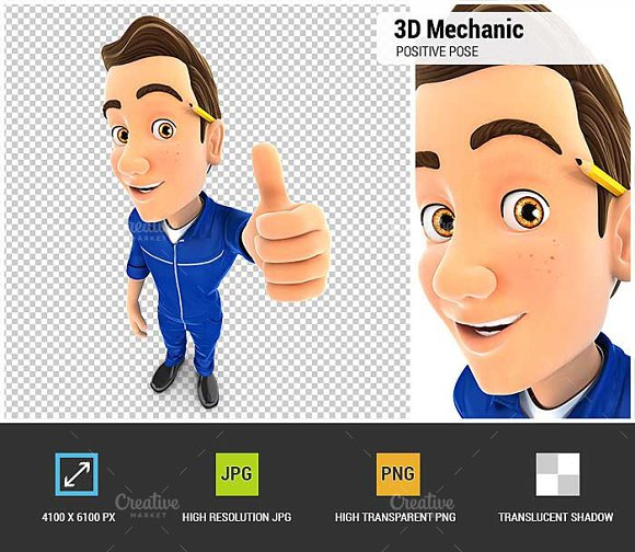 3D Mechanic Positive Pose