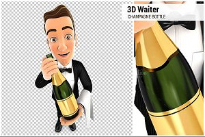 3D Waiter Holding Champagne Bottle