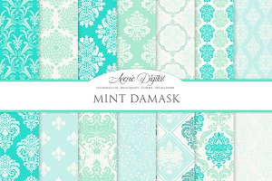 28 Mint Damask Digital Paper