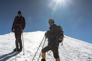 Hikers on Breithorn