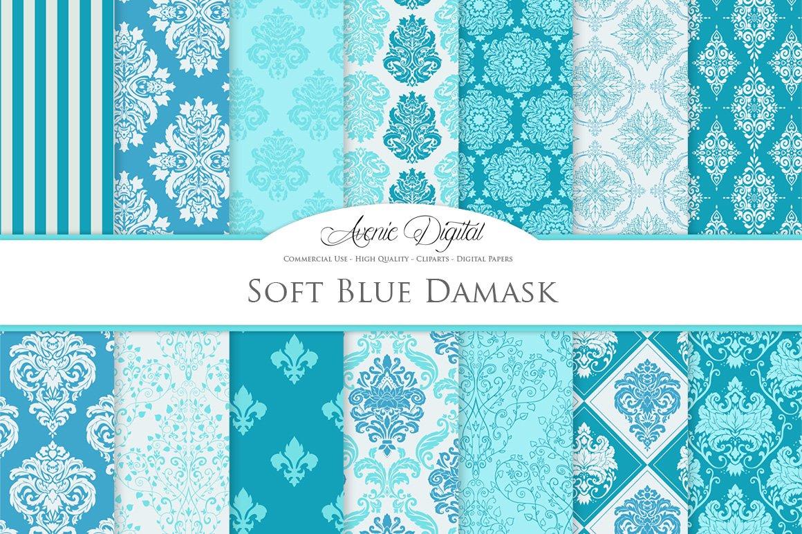 28 Soft Blue Damask Digital Paper Custom Designed Graphic Patterns Creative Market
