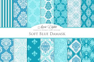 28 Soft Blue Damask Digital Paper