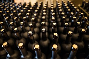 corked bottles of wine on factory