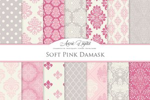 28 Soft Pink Damask Digital Paper