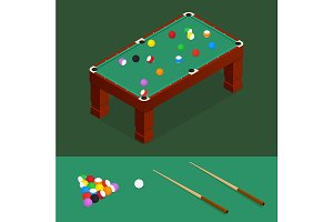Billiards Isometric View. Vector