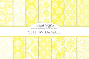 28 Yellow Damask Digital Paper