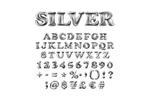 english alphabet of silver, white