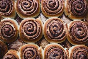 Cinnamon rolls on a tray