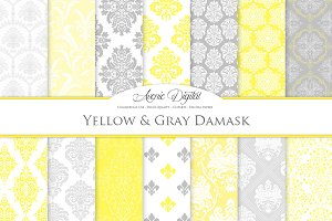 28 Yellow and Gray Damask Patterns