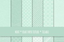 Mint Kraft Paper Seamless Patterns