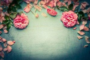 Pink roses border, retro styled