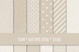 Cream Kraft Paper Seamless Patterns
