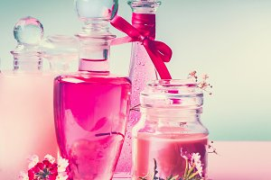 Pink cosmetic products setting