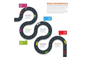 Road infographic with colorful pin pointer vector illustration. Moving cars on road, top view. Urban transport. Path and travel, information and traffic map of asphalt street in city or town