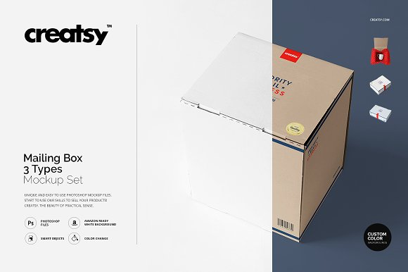Download Mailing Box 3 Types Mockup Set