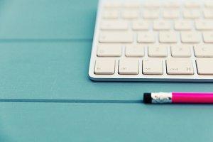 Wireless keyboard + pink pencil