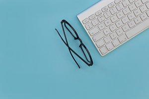Eyeglasses and computer keyboard