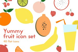Cute fruit icons - Vector