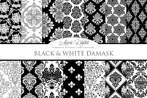 28 Black and White Damask Patterns
