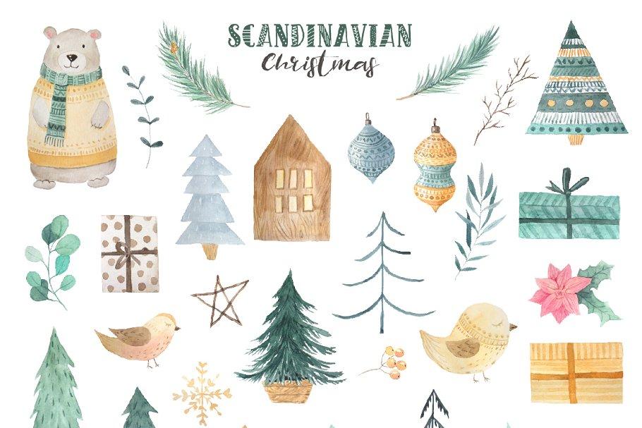 4c6b8dadecaa Scandinavian Watercolor Christmas ~ Illustrations ~ Creative Market