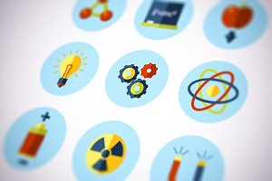 Physics Icons Flat Set