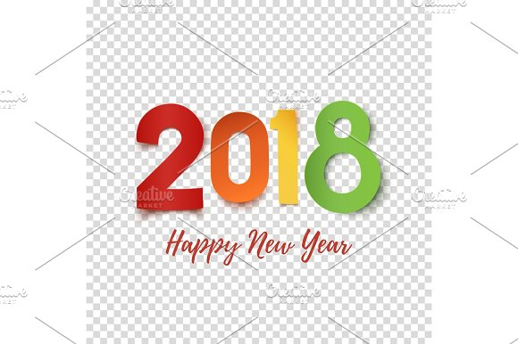 happy new year 2018 design template objects