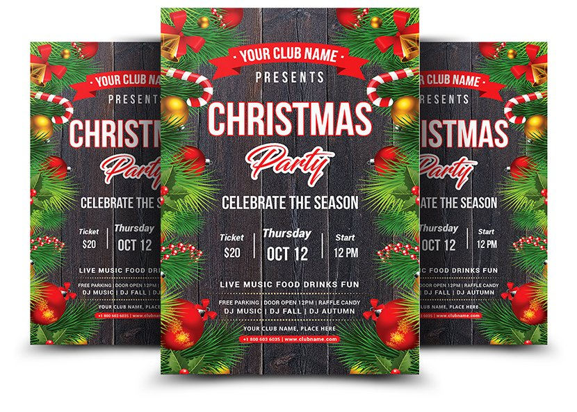 Christmas Party Flyer Flyer Templates Creative Market Pro