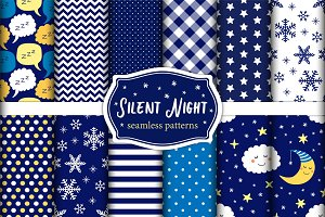 Cute set of Silent Night seamless patterns