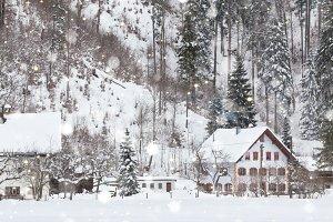 Christmas Alpine landscape