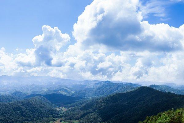 panorama mountain and sky.