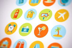 Flat Vector Travel And Tourism Icons