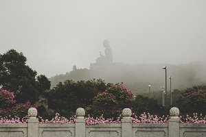 Misty view from the Hong Kong Buddha