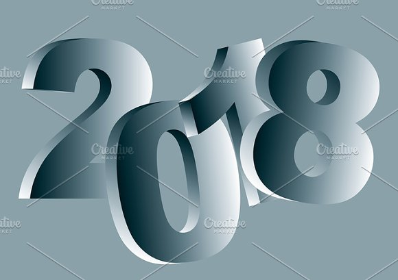 New year 2018 greeting card